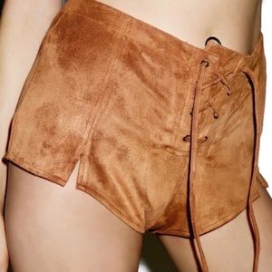 Honey Punch | Buck Wild Faux Suede Lace Up Shorts